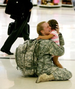 Mother reunited with her daughter after serving 7 months in Iraq.