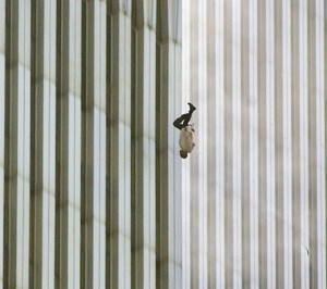 A man falling from the World Trade Center.